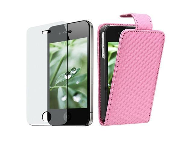 Pink Carbon Fiber Leather CASE+Anti-Glare Screen Protector Compatible With iPhone® 4 G 4S