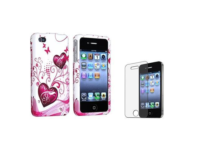 White/Pink Heart Plastic Case+Anti Glare Matte Film Compatible With iPhone® 4 4th 4S 4GS