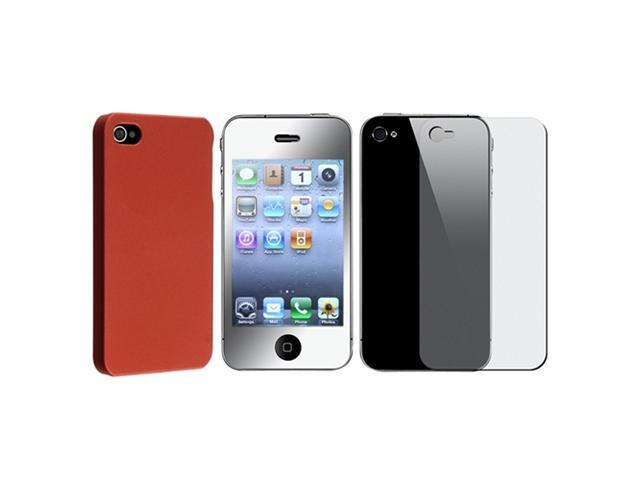 Red Rubber Hard Snap-on Case Cover+MIRROR LCD Protector Film Compatible With iPhone® 4 G 4S