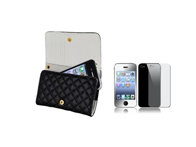 Wallet Black Leather Case Skin Cover+Front Back Mirror Film Compatible With iPhone® 4 4S 4GS