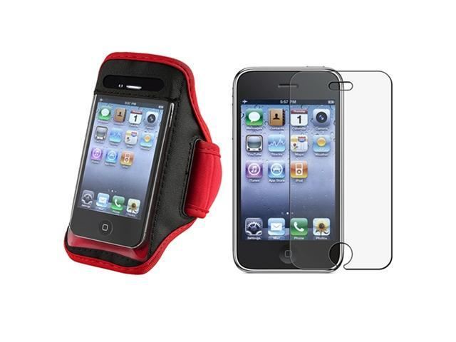 Red/Black Gym SportBand Armband Case Cover+Anti-Glare Guard Compatible With iPhone�� 3 G 3GS