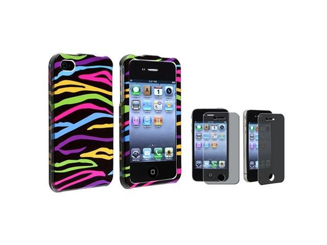 Black/Colorful Zebra Hard Case+PRIVACY LCD Filter Protector Compatible With iPhone® 4 G 4S