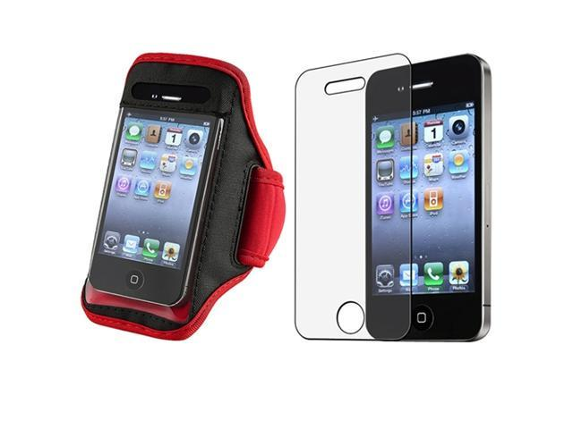 SportBand Armband Red/Black CASE+Anti-Glare Film compatible with VERIZON iPhone® 4 G 4S 4GS