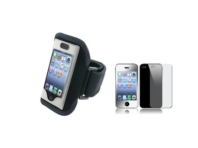 Silver Armband Sportband Case Cover+Front Back Mirror LCD Guard Compatible With iPhone® 4 4S