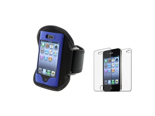 Armband Sportband Blue Cover Case+Anti Glare 2-LCD Guard Film Compatible With iPhone® 4 4S