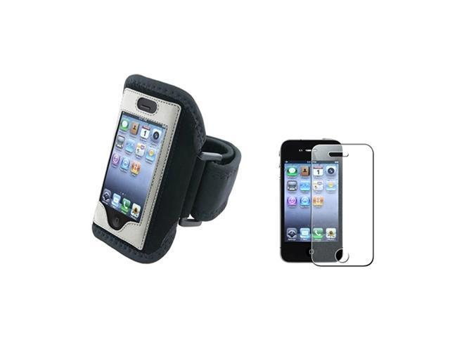 Silver Sportband Armband Skin Case Cover+Glitter Diamond Guard Compatible With iPhone® 4 4S
