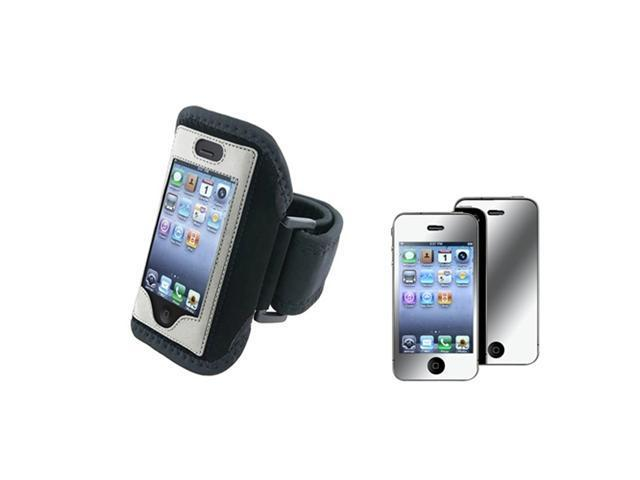 Silver Armband Sportband Case Cover Skin+Mirror Screen Guard Compatible With iPhone® 4 4G 4S