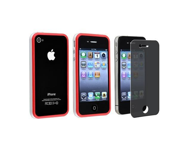 White/Red Bumper w/ Button Skin Case Cover+PRIVACY Protector Compatible With iPhone�� 4 4S