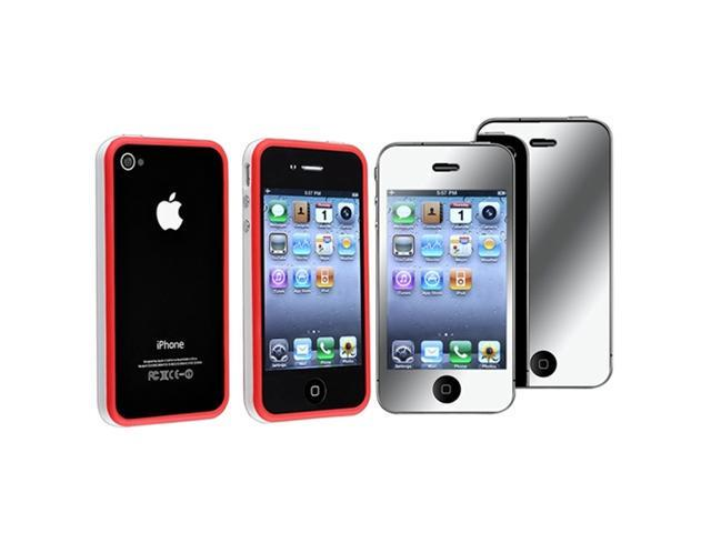 White/Red Bumper w/ Button TPU Case Cover+MIRROR Protector Compatible With iPhone® 4 G 4S