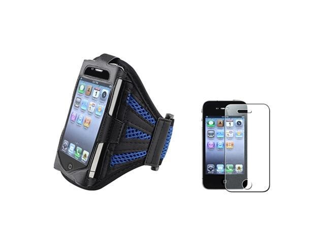 Black/Dark Blue Sportband Armband Case+Glitter Diamond Guard Compatible With iPhone® 4 4S