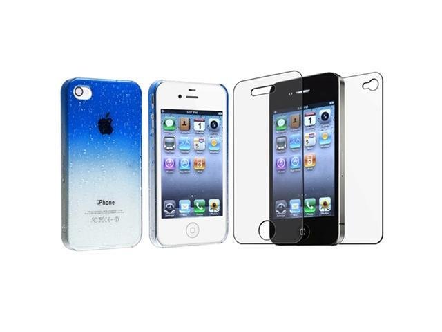Blue Clear Waterdrop Hard Case Cover+Anti-Glare Protector Compatible With iPhone® 4 4th 4G 4S