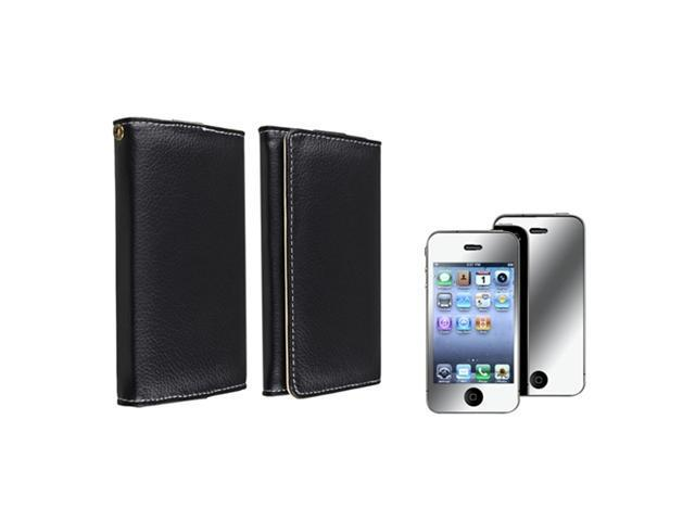 Wallet Leather Case Skin+Mirror LCD Protector Film Compatible With iPhone® 4 4th 4S 4GS