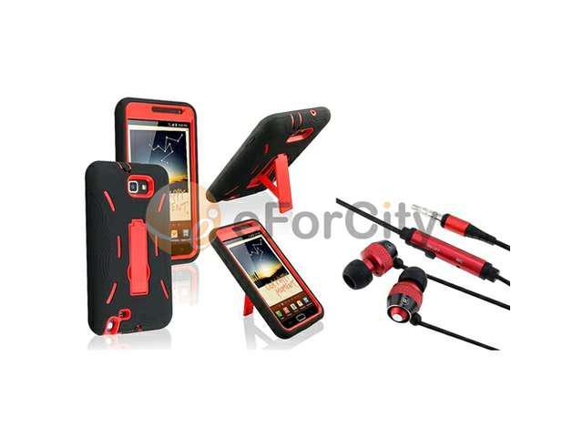Red Hard / Black Silicone Hybrid Case with Stand + In-ear (w/on-off) Stereo Headsets compatible with Samsung© Galaxy Note N7000 / I717