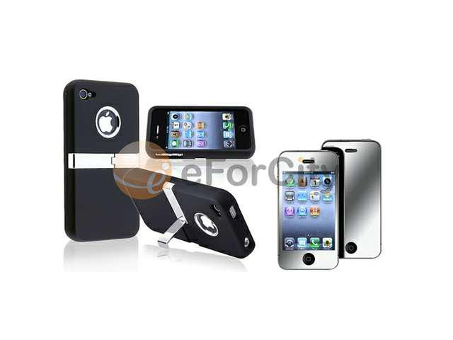 Black w/ Chrome Stand Hard CASE Cover+MIRROR LCD Protector compatible with iPhone 4 G 4S 4GS