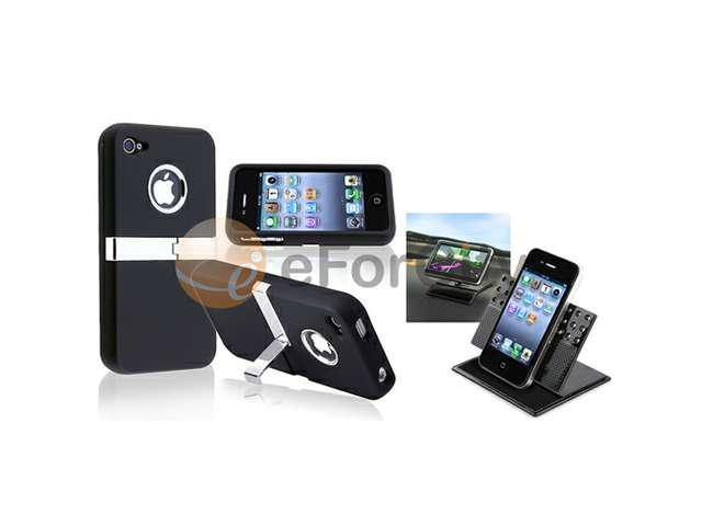 Black Stand Rubber Hard Case Skin+Car Dashboard Holder compatible with iPhone® 4 4G Gen 4S