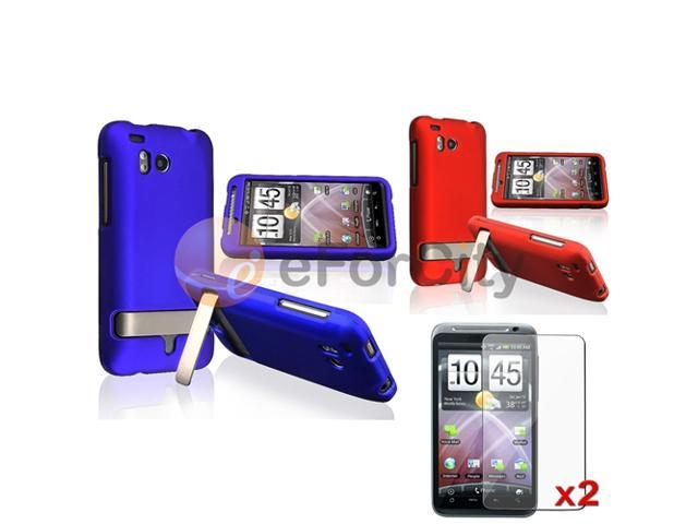 Red+Blue Hard Case+2 LCD For HTC Thunderbolt 4G
