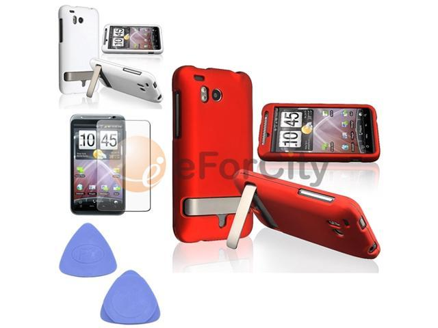 For HTC ThunderBolt 4G Red+White Clip-On Case+Tool+LCD