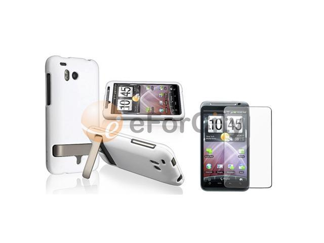 White Snap-on Rubber Case+LCD compatible with HTC ThunderBolt 4G
