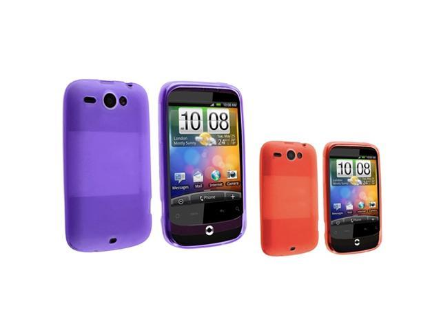 Purple TPU Rubber Case + Red TPU Rubber Case compatible with HTC Wildfire