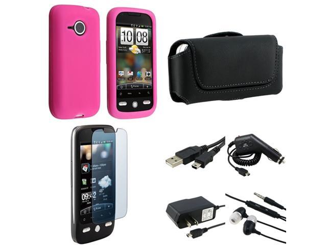 compatible with HTC DROID ERIS Accessory Bundle Pink Case Charger Cable Headset Protector