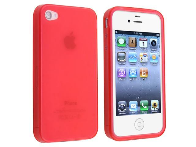 TPU Rubber Skin Case Compatible With Apple® iPhone® 4, Clear Hot Pink