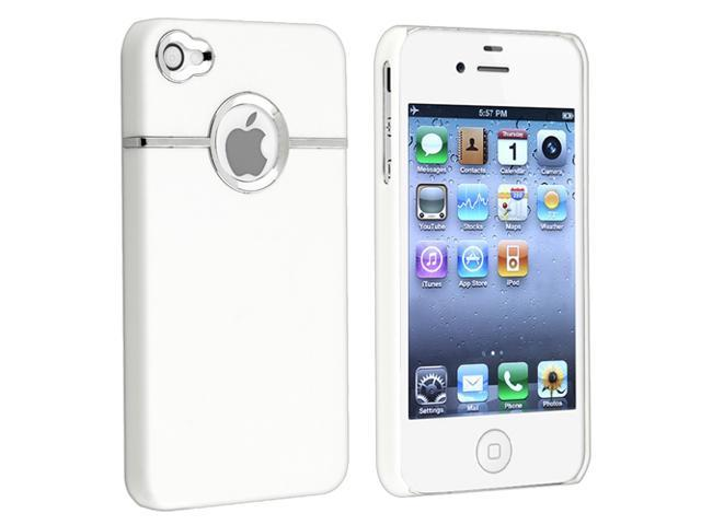 Snap-on Rubber Coated Case compatible with Apple® iPhone® 4 / 4S, White with Chrome Hole Rear