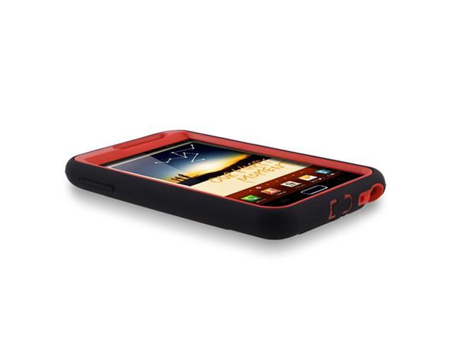 Hybrid Case with Stand compatible with Samsung© Galaxy Note N7000 / I717, Red Hard / Black Skin