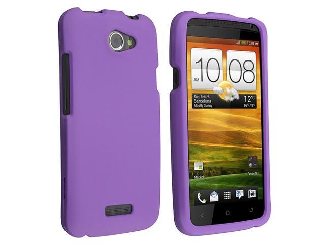 Purple Soft rubber gel Silicon Skin Case Cover compatible with AT&T HTC ONE X