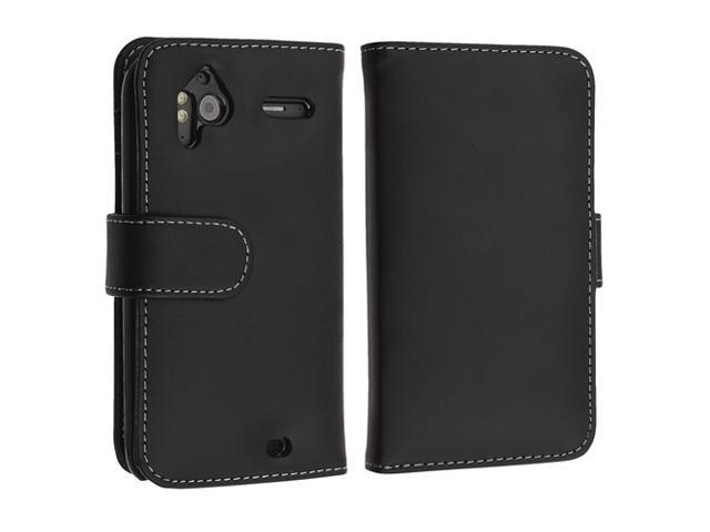 Leather Case with Card Holder compatible with HTC Sensation 4G, Black