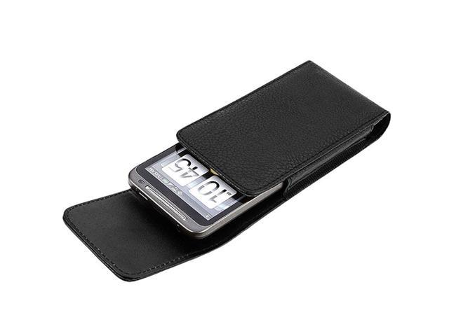 Black Premium Leather Pouch Phone Case Cover with Magnetic Flap compatible with HTC EVO 3D / EVO 4G /Motorola Droid 3 XT862