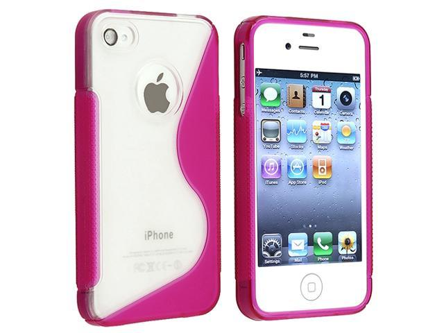 INSTEN Compatible with Apple® iPhone® 4S AT&T / Verizon / Sprint, Clear / Hot Pink S Shape TPU Rubber Skin Case