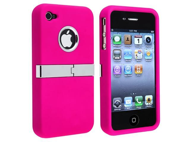 Snap-on Case compatible with Apple® iPhone® 4 AT&T / Verizon / iPhone® 4S, Hot Pink with Chrome Stand