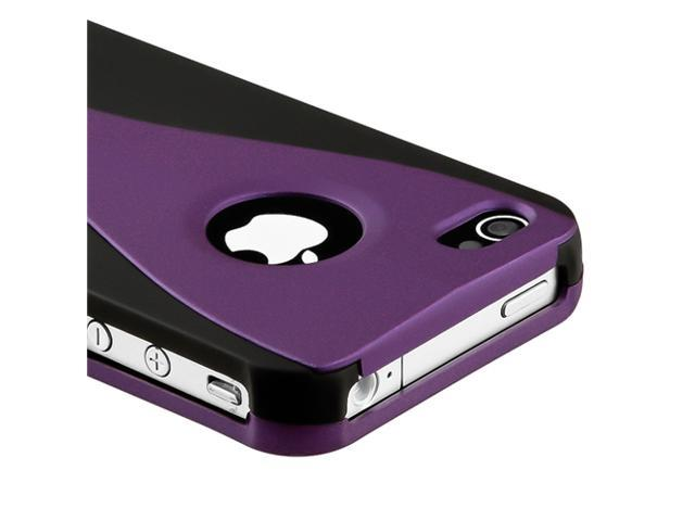 Snap-on Rubber Coated Case compatible with Apple® iPhone® 4 - AT&T / Verizon, Dark Purple / Black Cup Shape