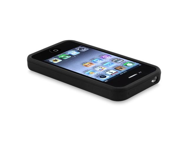 Insten Silicone Skin Case for Apple iPhone 4 AT&T / Verizon / iPhone 4S, Black