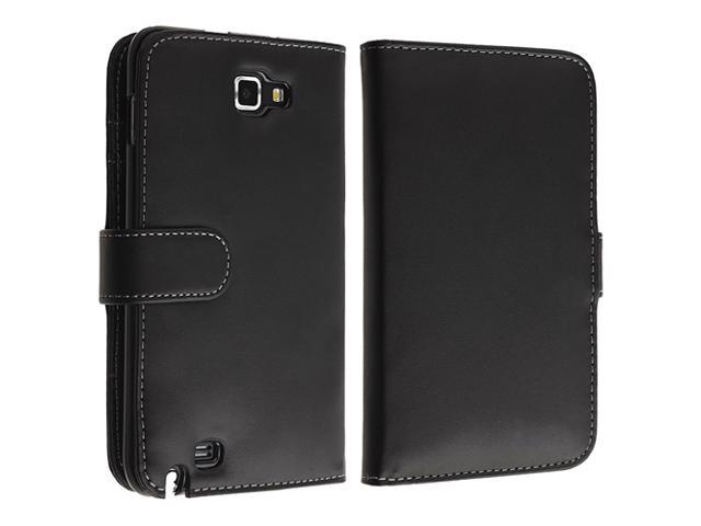 Leather Wallet Case with Card Holder compatible with Samsung© Galaxy Note N7000, Black