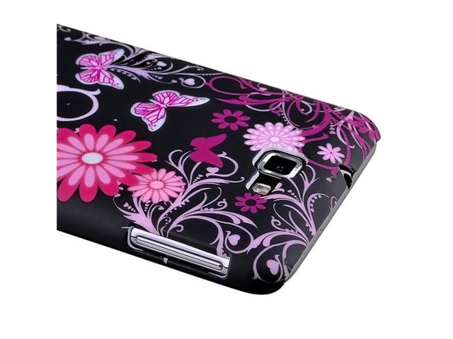 Snap-on Case compatible with Samsung© Galaxy Note N7000, Purple Flower with Butterfly Rear