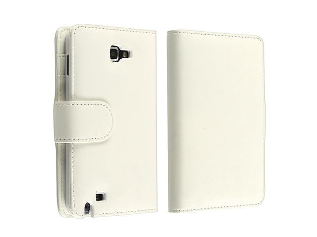 Leather Wallet Case with Card Holder compatible with Samsung© Galaxy Note N7000, White