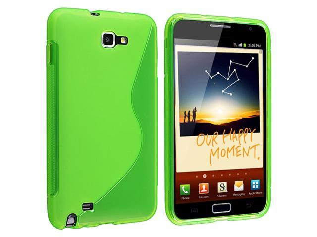 TPU Rubber Skin Case compatible with Samsung© Galaxy Note N7000 / I717, Clear Green S Shape