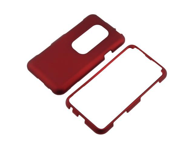 Snap-on Rubber Coated Case compatible with HTC EVO 3D, Red