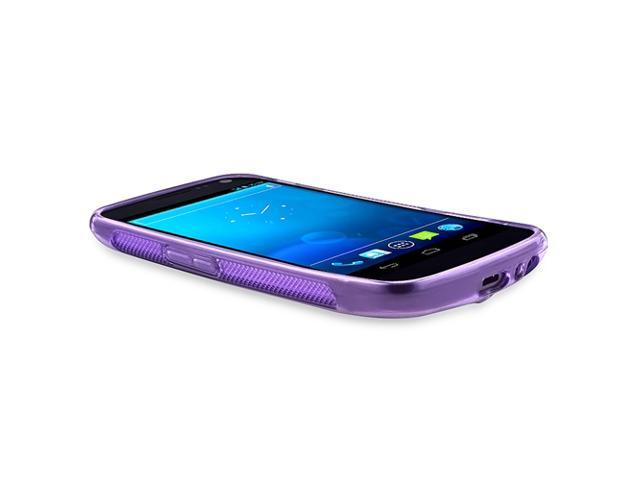 TPU Rubber Skin Case compatible with Samsung© Galaxy Nexus i515, Frost Purple S Shape