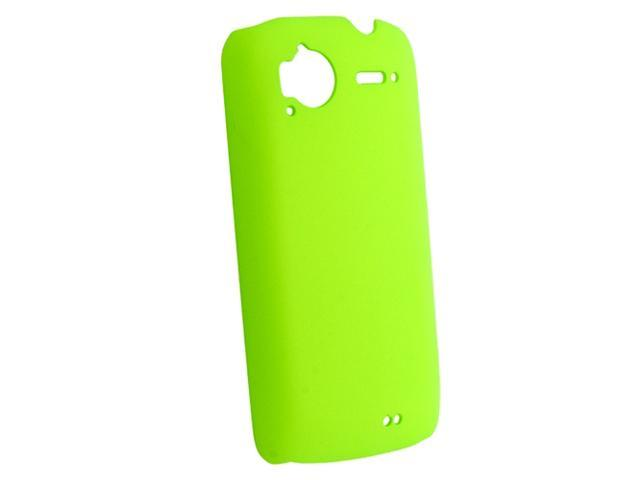 Snap-on Rubber Coated Case compatible with HTC Sensation, Neon Green Rear