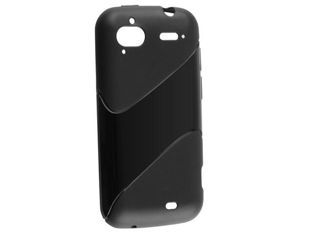 TPU Rubber Skin Case compatible with HTC Sensation XE, Frost Black Twill Shape