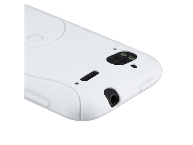 TPU Rubber Skin Case compatible with HTC Sensation, White S Shape