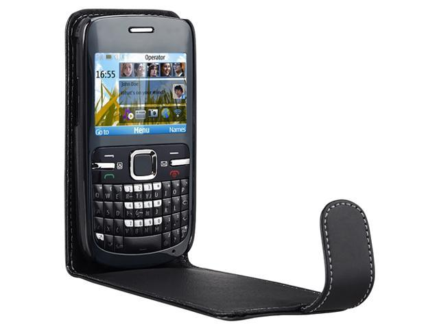Leather Case compatible with Nokia C3, Black