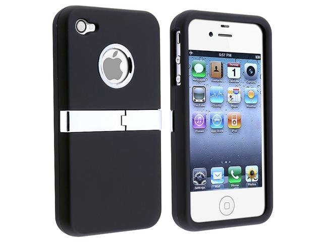 Insten Snap-on Case for Apple iPhone 4 AT&T/ Verizon / iPhone 4S, Black with Chrome Stand