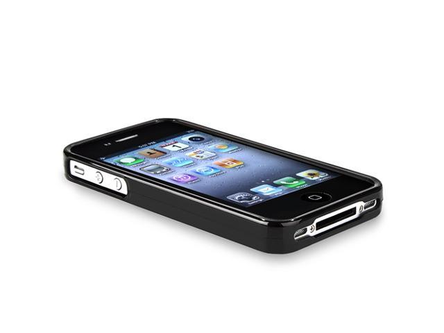 INSTEN Compatible with Apple® iPhone® 4S AT&T / Verizon / Sprint, Glossy Black TPU Rubber Skin Case