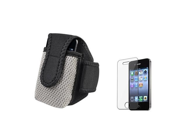 BLACK SPORTS RUNNING ARMBAND CASE + PRO Accessory compatible with Apple iPhone 4 s 4S 4GS 4G