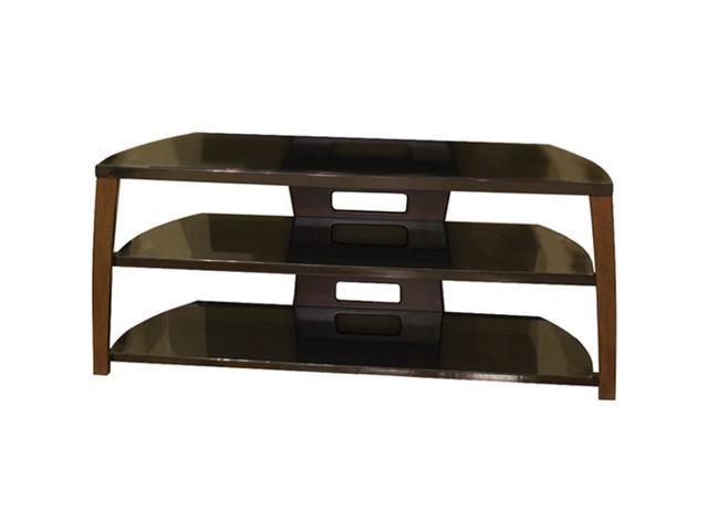 Sylvan Ridge IIX50SR21W Walnut Veneer & Black Glass Flat Panel TV Stand