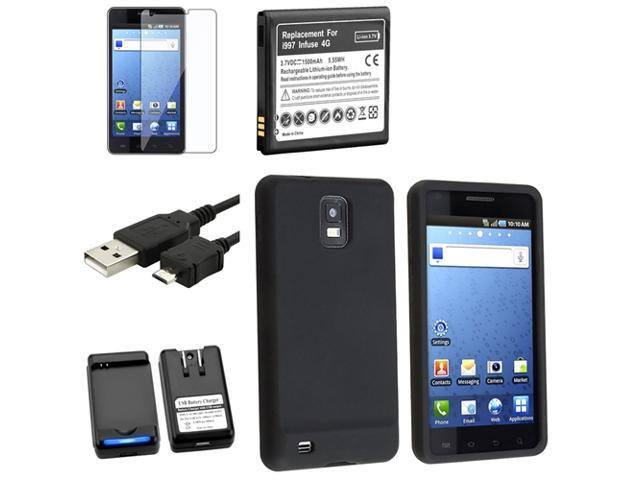 Insten Black Case+Charger+Battery+USB Compatible with Samsung Infuse I997 4G 648161