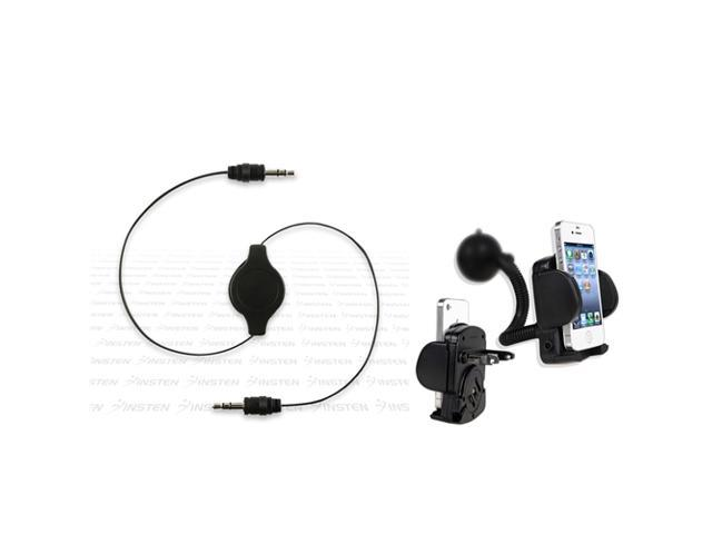 Black Car Mount Holder+INSTEN Cable compatible with MP3 Cell iPhone®